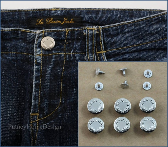 6 Denim Jeans Button Stud Hammer On NO SEW Craft Replacement Repair Silver