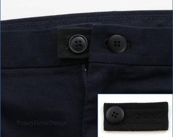 Black Cotton Drill & Black Button Waist Line Extender - For Pants Shorts Jeans Trousers Skirts Waistline Button - Extension Expand Widen