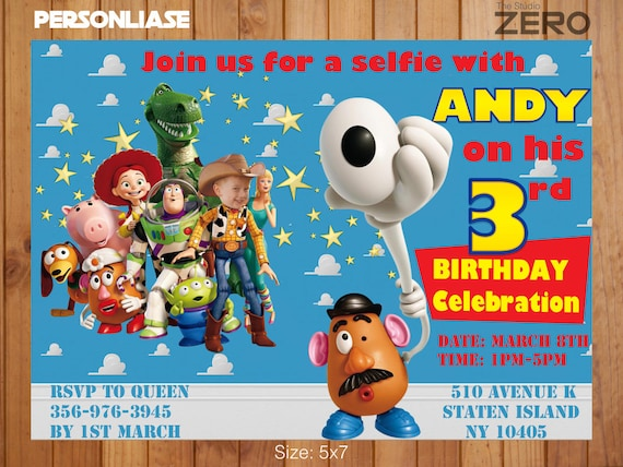 Toy Story Bday Invite Buzzlightyear Selfie Party Personalize Etsy