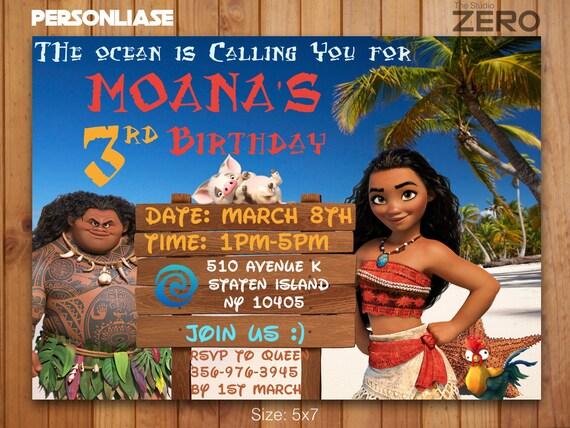 Moana Bday Invite Birthday Invitation Print At Home