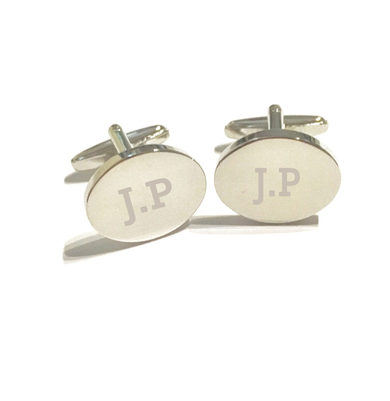 MaleFor HimFathers DayWedding Gift. Oval Rhodium Plated Brass Personalised Engraved Cuff Links