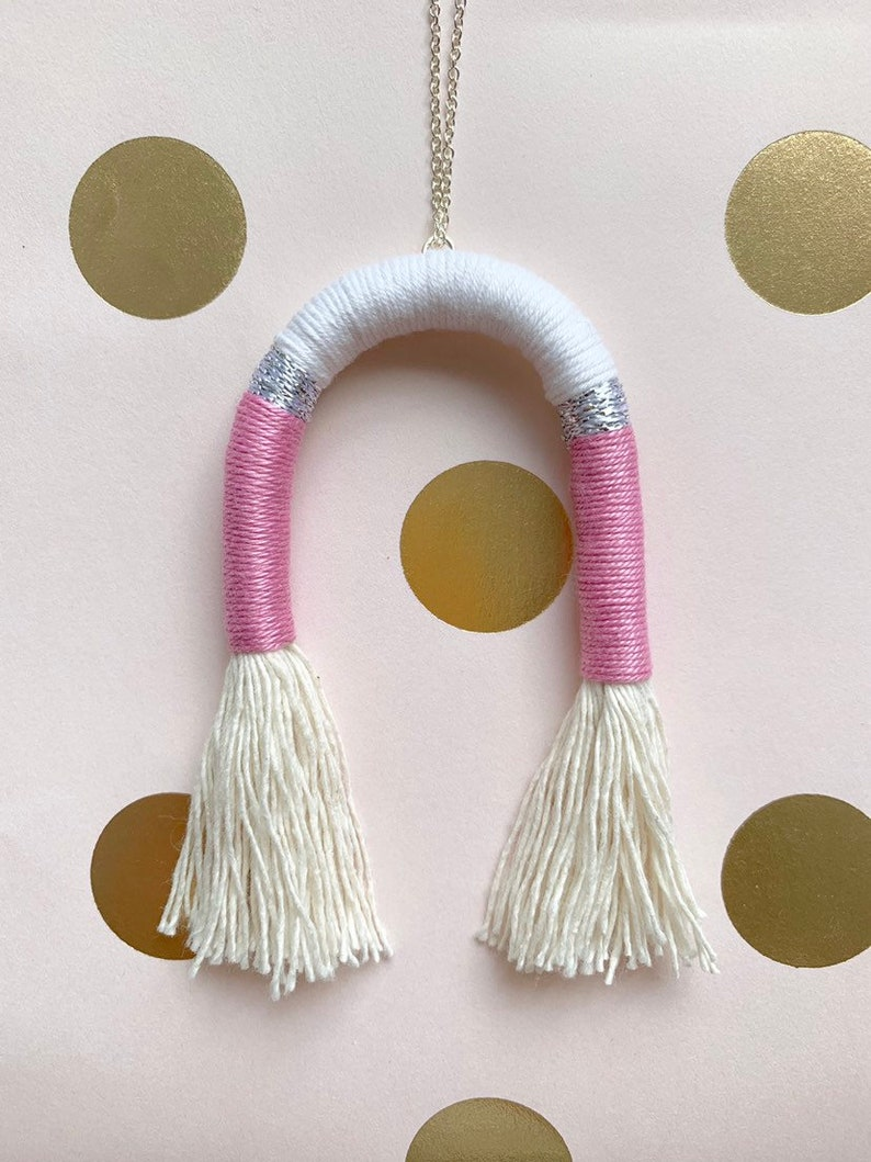 boho tassel necklace silver necklace Tassel arc necklace