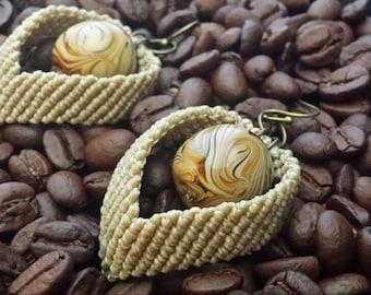 Café latte macrame earrings