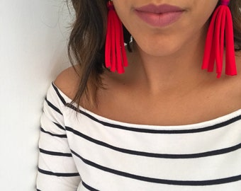 Red and fucsia earrings