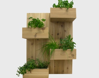 Name: Four square (vertical garden, plant stand, upright plant, planter, cedar wall planter, herb garden, upright plant)