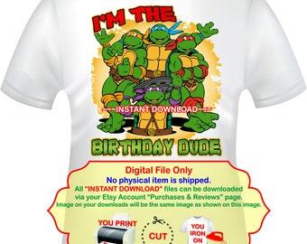 b3a2ba106 Teenage Mutant Ninja Turtles Iron On Transfer, Birthday Boy Party  Printables, TMNT Shirt Decal, Instant Download - TMNT2
