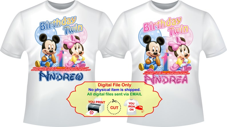 5a8a9003 Mickey Minnie Twins Birthday Iron On Transfer Personalized   Etsy
