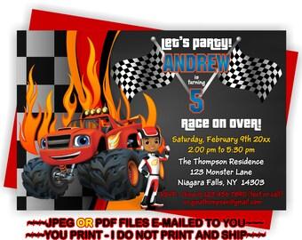 Blaze Party Invite, Blaze and the, Monster Machines, Birthday Invitation, Blaze Invite, Birthday Boy, Blaze Party - BIRINV35