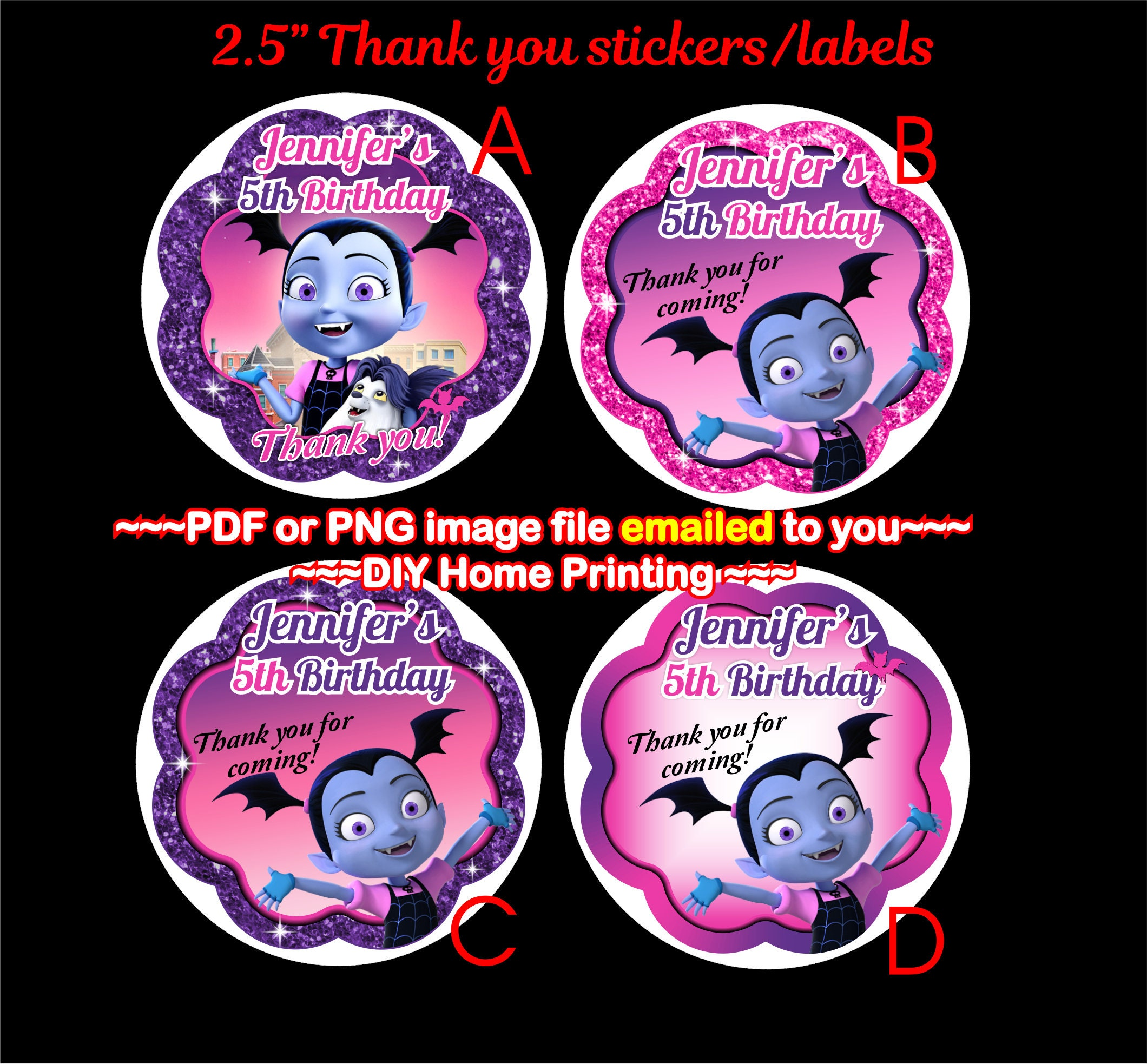Vampirina Birthday Thank You Stickers Vampirina Gift Tag