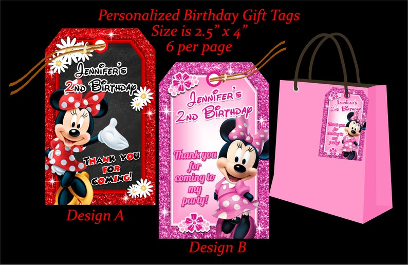 Minnie Birthday Gift Tag Personalized DIY Girl Party