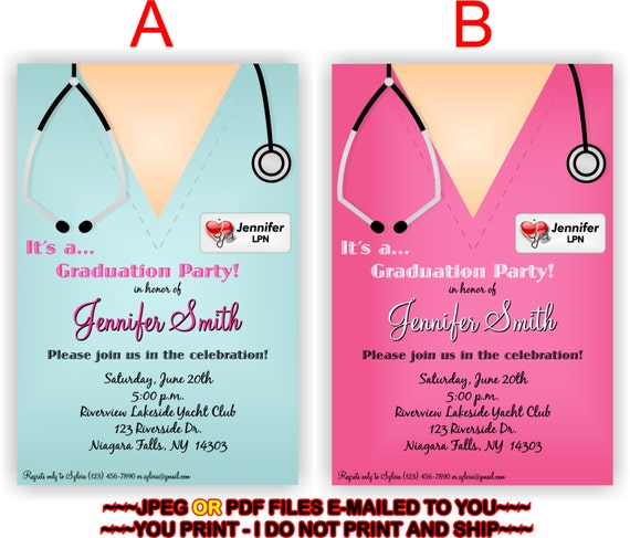 Nursing Graduation Party Invitation Personalized DIY Invite Printables