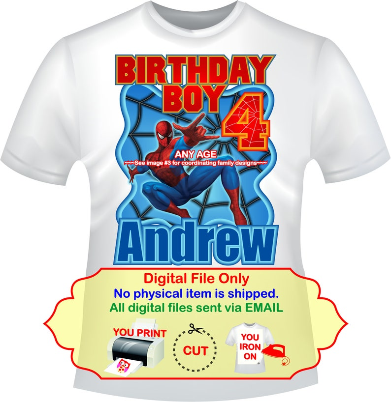 8da21e63 Spiderman Birthday Iron On Transfer Personalized DIY Family | Etsy