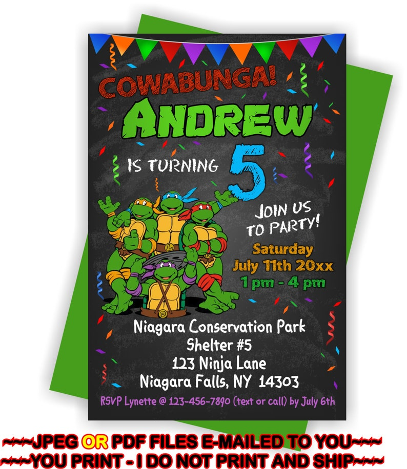 Ninja Turtles Birthday Invitation Personalized DIY