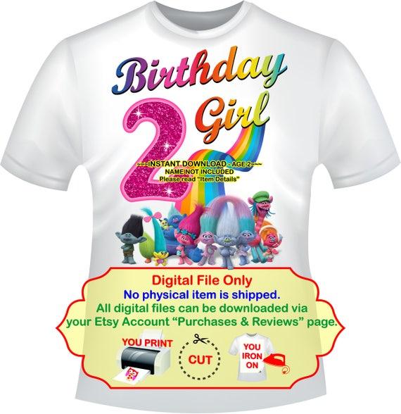trolls birthday iron on transfer birthday girl party etsy