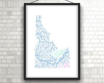 River basins of Idaho in rainbow colours (high resolution digital print) map print, wall art, poster map, home decor, wall decor, printable