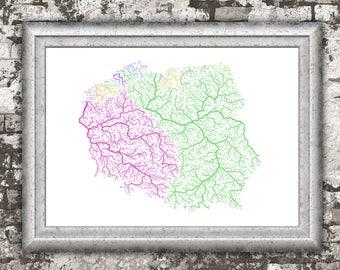 River basins of Poland in rainbow colours (high resolution digital print) map print, wall art, poster map, home decor, wall decor, printable