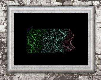River basins of Pennsylvania in rainbow colours (high resolution digital print) map print, wall art, poster map, home decor, wall decor