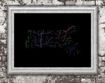 River basins of Massachusetts in rainbow colours (high resolution digital print) map print, wall art, poster map, home decor, wall decor