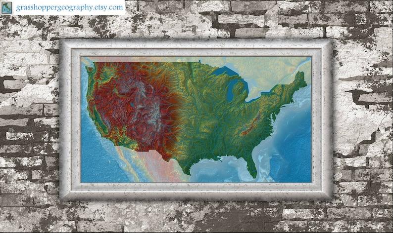 Us Elevation Map High Resolution Digital Print Map Print Etsy - Map-of-us-elevation