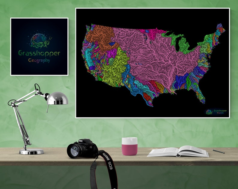 River basins of the US in rainbow colours high resolution image 0