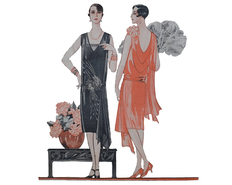 1920s Patterns – Vintage, Reproduction Sewing Patterns 2 feminine 1920s evening dresses ready-made printable patterns $9.67 AT vintagedancer.com