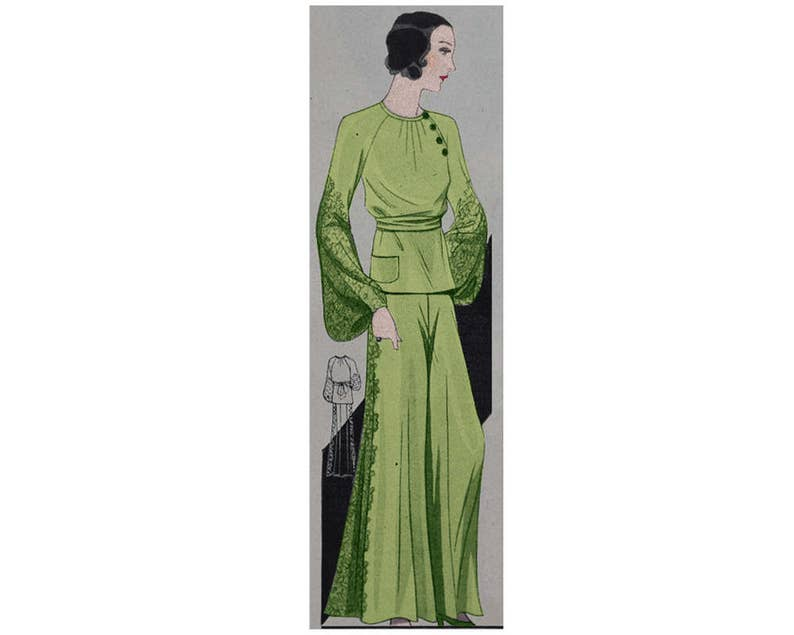 1930s Sewing Patterns- Dresses, Pants, Tops An elegant loungewear pyjama from 1932 ready-made printable pattern $10.24 AT vintagedancer.com