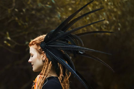 Feather Headdress Epic Black, Tribal Headpiece, Festival Headdress, Tribal Goddess, Feather Crown by Etsy