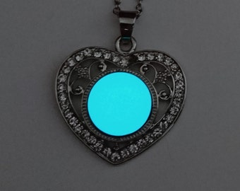 Glowing Necklace, Heart Necklace, Wife gift, Easter Gift, Glow in the Dark Pendant, Glowing Charm, Gifts for Her FREE GIFT