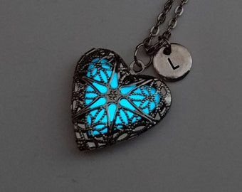Aqua Glow in the Dark Necklace, Heart Locket, Girlfriend Gift, Wife Gift, Jewelry, Gifts for Her, Personalized Initial Necklace