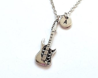 Long Silver Guitar Necklace, Guitar Necklace, Music Necklace, Guitar Jewelry, Music Gift, Guitar Gift, Gift For Musician, Music Lover (SM8)
