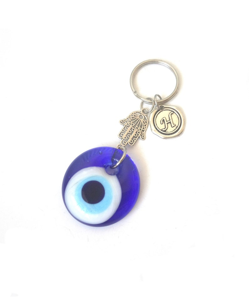 Silver Plated Blue Evil Eye Hamsa Pendent Key Chain Metal Copper Lobster Keychain For Men Women Jewelry Decoration Key Chains Jewelry & Accessories