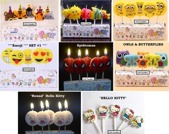 Spiderman Birthday Candles Emoji Kitty Cat Candle Fish Animal Owl Butterfly