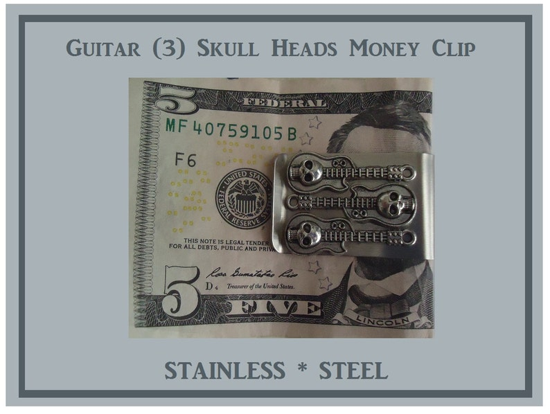 Skull Head Money Clip Stainless Steel Guitar Skull Bones Money Clip Stainless Steel Skull Money Clip Dad Gift Hold Money So You Don/'t Loose