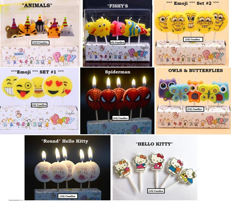 Spiderman Birthday Candles Emoji Kitty Cat Candle Fish