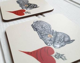 Set of 2 Coasters Love Bunnies | Anniversary Gift | Bunny Gift