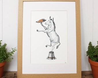 Donkey print (unframed Print only), donkey gifts, donkey art, farm print