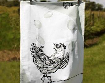 Chicken Tea Towel | Jessy the Juggling Chicken | Hen Gift