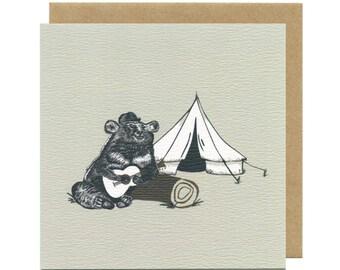 Camping Music Bear Birthday Card | Blank Card | Birthday Cards for men | Birthday Cards for him