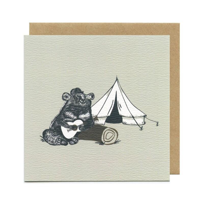 Camping Music Bear Birthday Card  Blank Card  Birthday Cards image 0