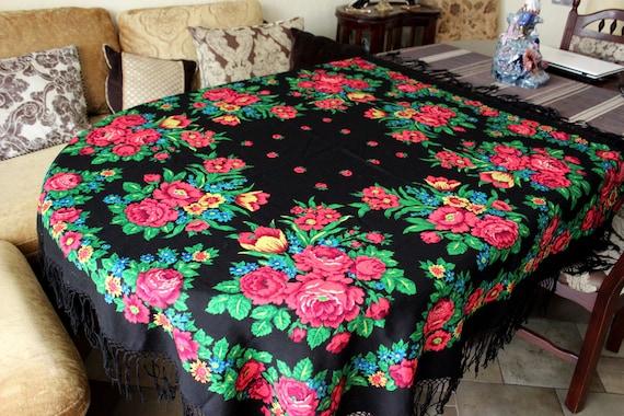 Vintage USSR Ukrainian Shawl Hustka Platok Cotton