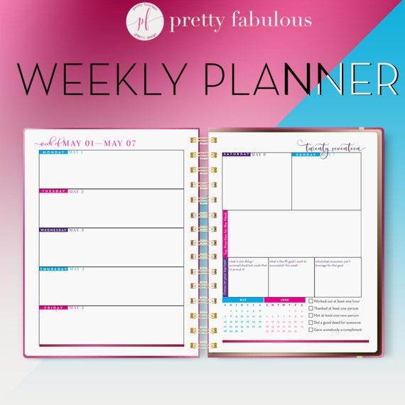 2017 2018 horizontal vertical weekly calendar weekly etsy