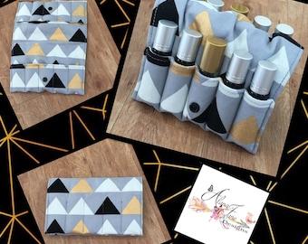 Essential Oil Wallet for Roller Bottles Grey, Black, Gold Triangle Cotton Fabric Holds 10 Roller Bottles, Similar Size Bottles, Perfect for