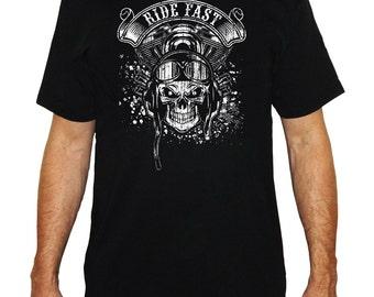 screen printed black biker shirt