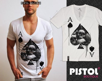 Pistol Boutique mens white Deep V neck Tattoo birds swallows dribble t-shirt