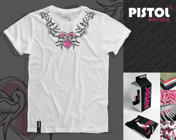 Pistol Boutique mens Grey Rolled Sleeve crew Skull Crown Heart Wings T-shirt