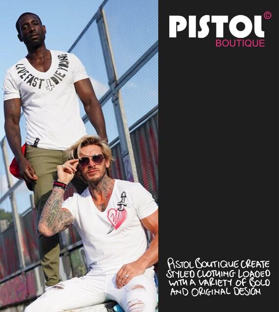 Pistol Boutique men/'s Black crew neck HEADPHONES DRIBBLE MUSIC T-shirt