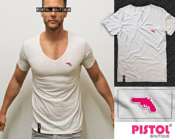 "Pistol Boutique Vintage White /""Blank/"" Deep v neck mens t-shirt Chest gun logo"