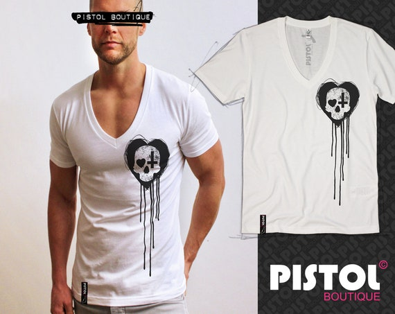 Pistol Boutique men/'s Fitted Grey Crew rolled Sleeve SKULL HEART CROSS T-shirt