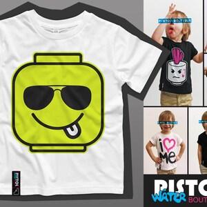 Water Pistol Boutique Kids Unisex Boys Girls LEGO HEAD PUNK HAIR White T-shirt