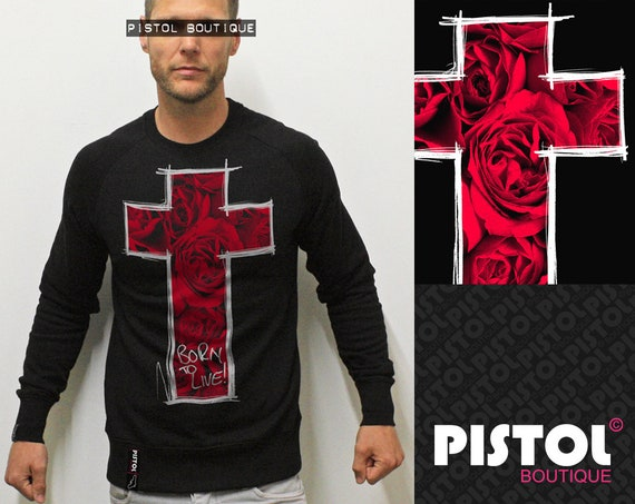 Pistol Boutique mens Black ROSES SKETCH CROSS fashion casual Raglan sweatshirt